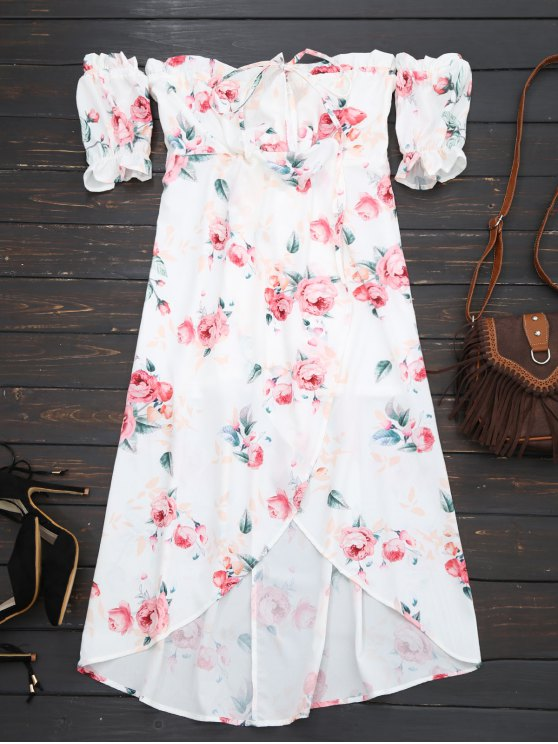 outfits Off Shoulder High Low Floral Dress - WHITE S