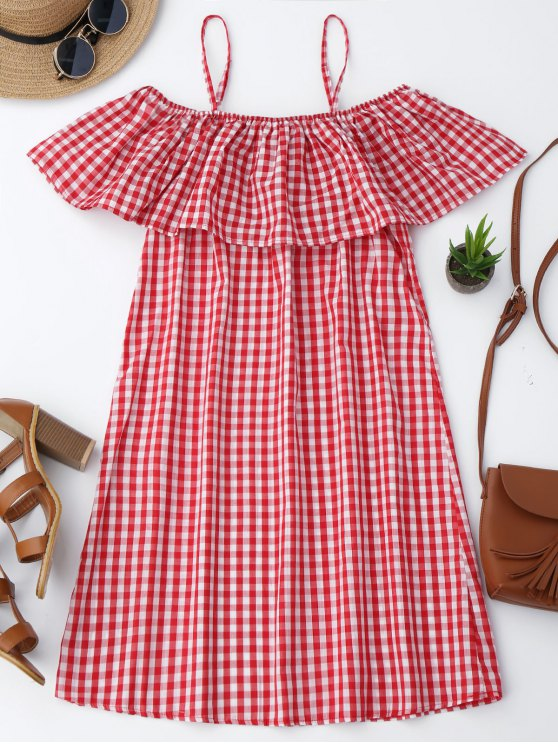 fashion Cami Plaid Ruffle Dress - RED M