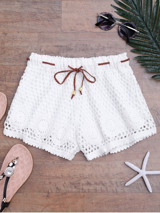 sale Lined Drawstring Crochet Cover Up Shorts - WHITE ONE SIZE