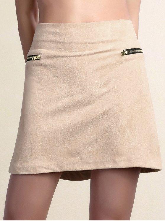 Suede cremallera embellecido Minifalda - Rosa S