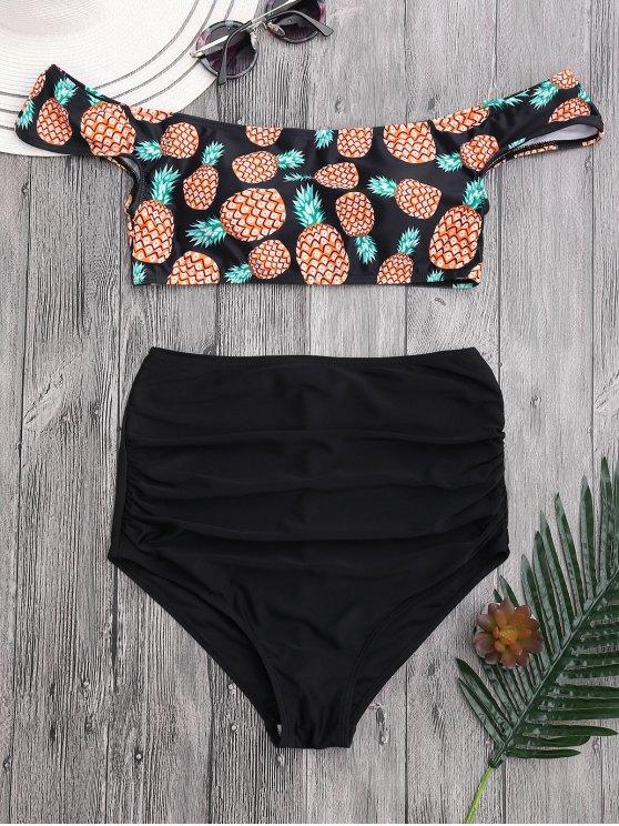 Bikini Fruncido con Cintura Alta con Estampado de Piña con Hombros al Aire - Negro L