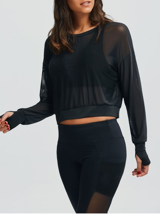 outfits Mesh See-Through Sports Top - BLACK M