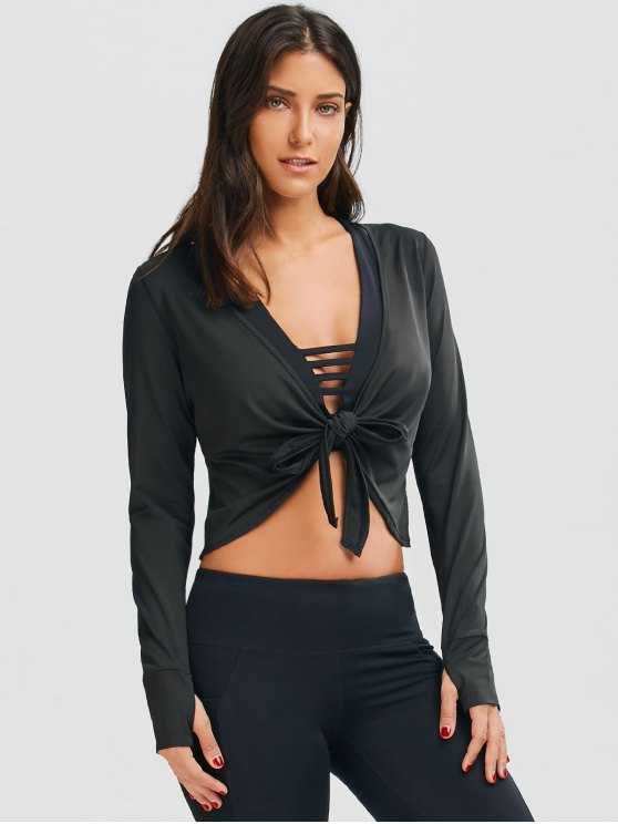 latest Plunging Neck Thumbhole Knotted Sports Top - BLACK M