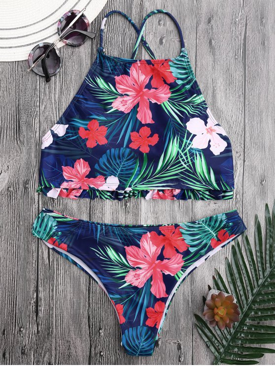 shops Tropical Floral High Neck Ruffles Bikini - FLORAL L