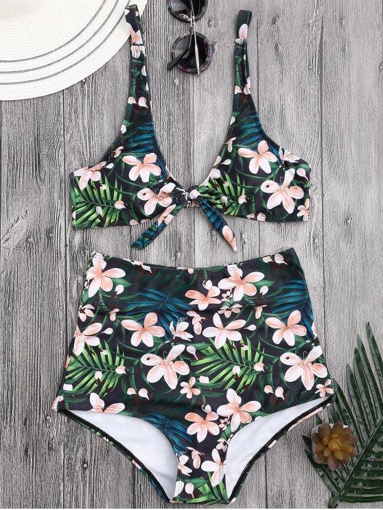 Bikini Floral Tropical con Cintura Alta con Cuello en U - Floral XL