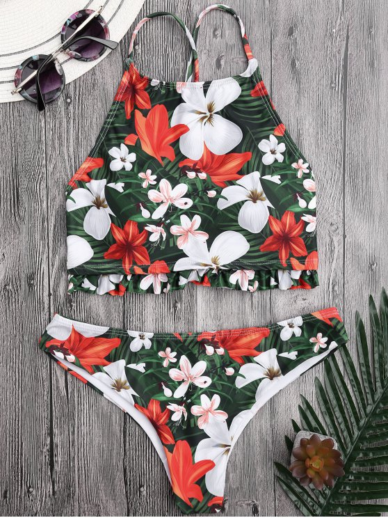 outfit Floral High Neck Ruffles Bikini - FLORAL M