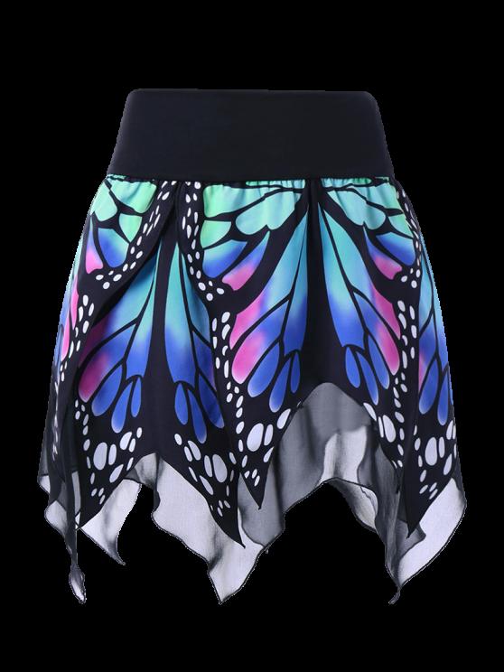 Falda de Pañuelo con Estampado de Mariposa en Cintura Alta - Azul XL