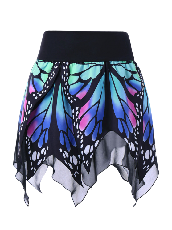 new Butterfly Print Handkerchief Skirt - BLUE 2XL