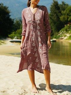 V Neck 3/4 Sleeve Embroidered Ethnic Style Dress - Claret L