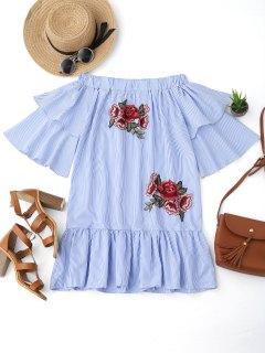 Off Shoulder Striped Drop Waist Dress - Blue Xl