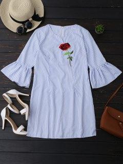 فستان مخطط تونك مع مطرزة وردة - شريط L