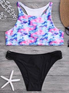 Ombre Tie Dye High Neck Racerback Bikini Set - L