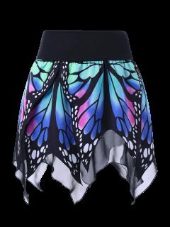 Butterfly Print Handkerchief Skirt - Blue 2xl