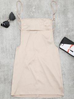 Backless Mini Slip Dress - Apricot S