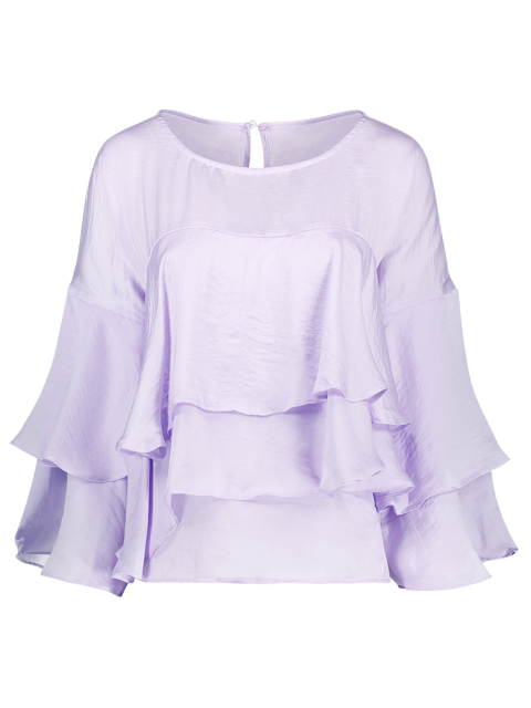 shop Jewel Neck Ruffles Layered Blouse - LIGHT PURPLE 2XL Mobile