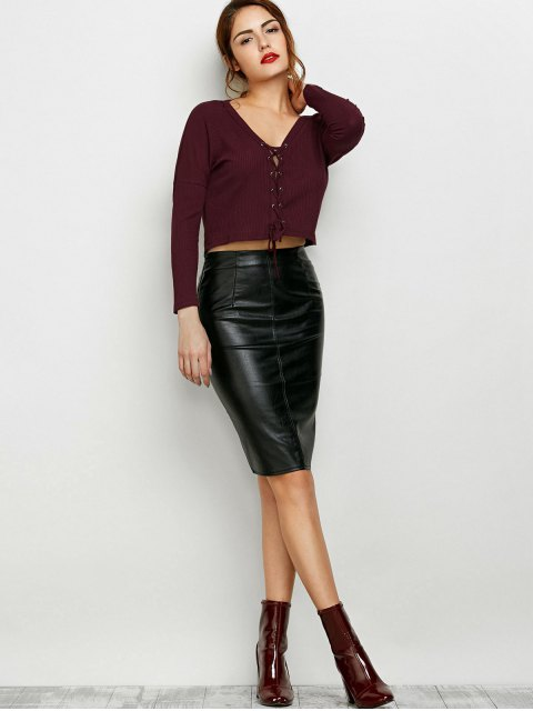 women's Lace Up Ribbed Cropped Cardigan - BURGUNDY XL Mobile