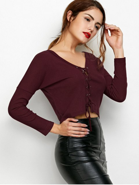 best Lace Up Ribbed Cropped Cardigan - BURGUNDY S Mobile