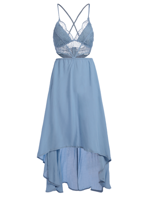 outfit Lace Spliced High-Low Cami Sleeveless Dress - LAKE BLUE L Mobile