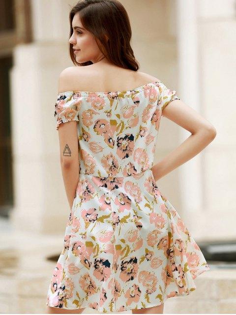unique Floral Off The Shoulder Short Sleeve Dress - COLORMIX XL Mobile