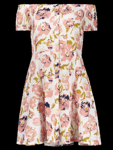 chic Floral Off The Shoulder Short Sleeve Dress - COLORMIX M Mobile