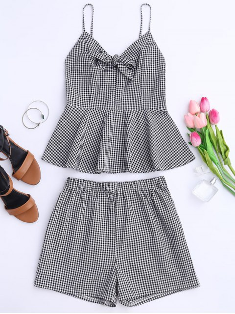 lady Plaid Peplum Knot Top and Shorts - BLACK S Mobile