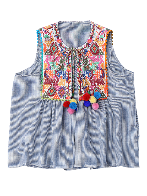 outfit Embroidered Open Front Waistcoat with Bell - STRIPE M Mobile
