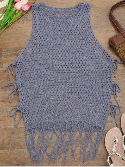 Tie Side Open Knit Beach Cover Up Top - Pourpre TAILLE MOYENNE Mobile