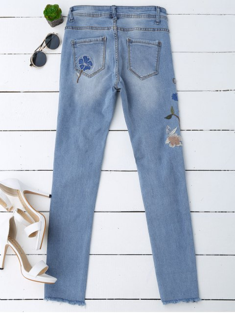 chic Ripped Floral Embroidered Sequins Jeans - DENIM BLUE XL Mobile