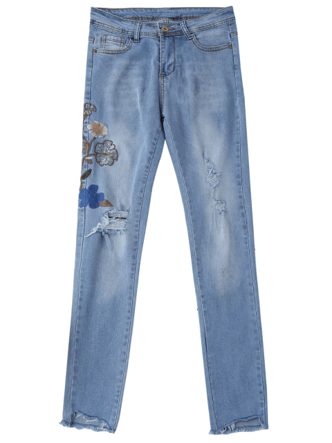 fancy Ripped Floral Embroidered Sequins Jeans - DENIM BLUE L Mobile