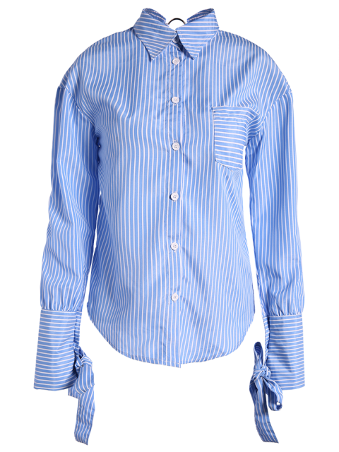 online Striped O Ring Back Sleeve Tie Shirt - BLUE AND WHITE 2XL Mobile