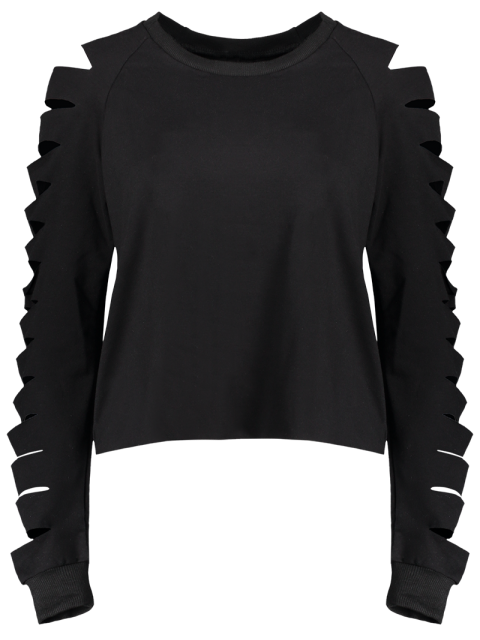 ladies Fitting Ripped Sleeve T-Shirt - BLACK M Mobile