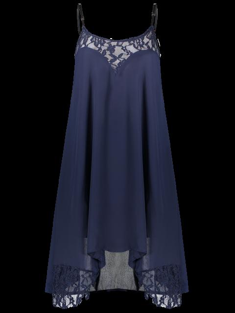 Black Lace Splicing Cami Dress - Bleu Violet M Mobile