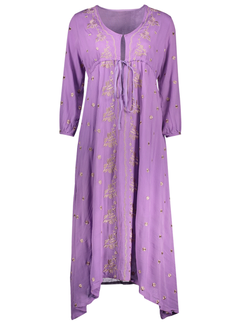 latest High Waisted V-Neck 3/4 Sleeve Embroidery Dress - PURPLE XL Mobile