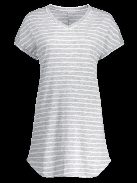 online V-Neck Striped Tee Dress - GRAY S Mobile