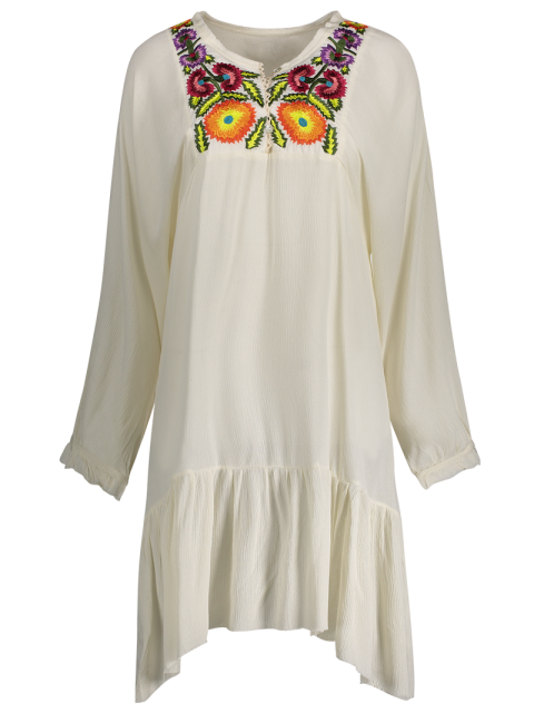 sale Long Sleeve Embroidery Round Neck Dress - WHITE S Mobile