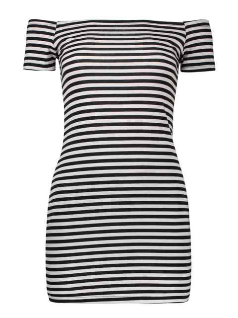 trendy Cold Shoulder Ribbed Dress - WHITE AND BLACK M Mobile