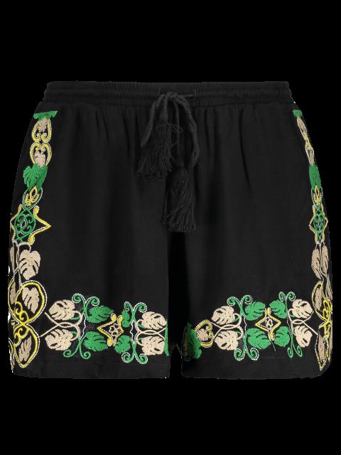 hot Embroidery Elastic Waist Wide Leg Shorts - BLACK M Mobile
