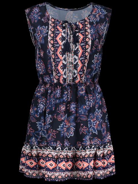 new Printed V-Neck Sleeveless Waisted Dress - PURPLISH BLUE S Mobile