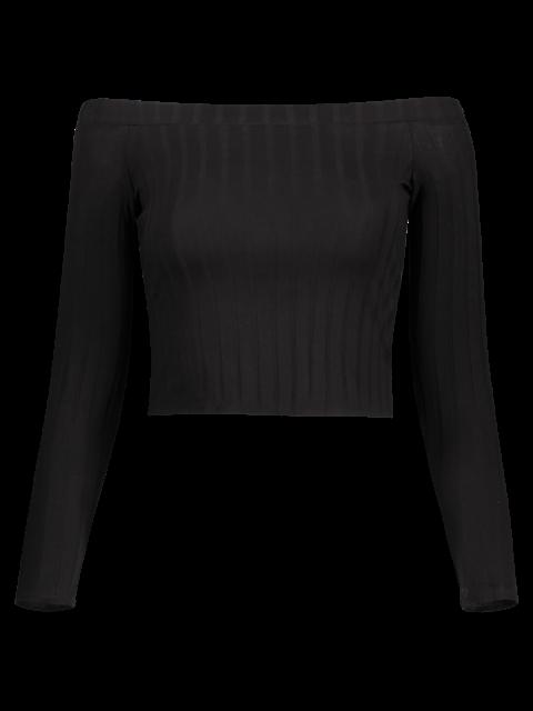 ladies Off The Shoulder Solid Color Long Sleeve T-Shirt - BLACK M Mobile