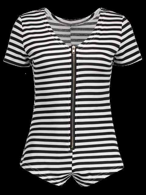 shop Stripe Plunging Neck Short Sleeve Zipper Bodysuit - WHITE AND BLACK L Mobile