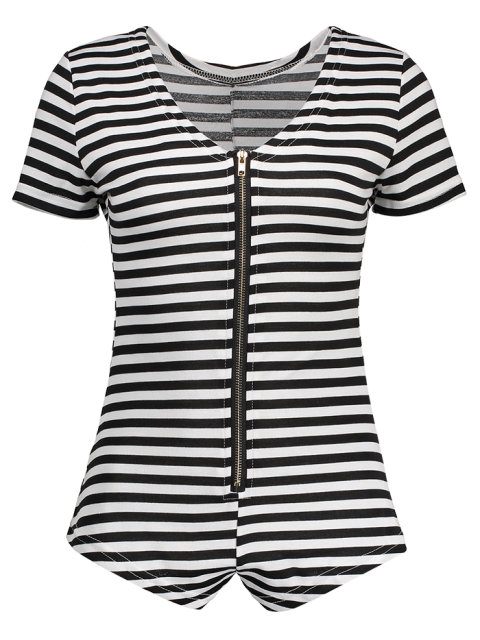 outfits Stripe Plunging Neck Short Sleeve Zipper Bodysuit - WHITE AND BLACK M Mobile