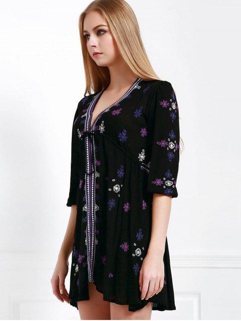 affordable Embroidered Drawstring Design Mini Dress - BLACK M Mobile