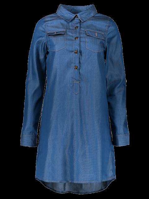 shops Button Design Rolled Up Sleeve Shirt Dress - BLUE 2XL Mobile