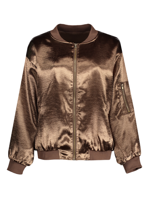 latest Fitted Zipped Bomber Jacket - GOLD BROWN M Mobile
