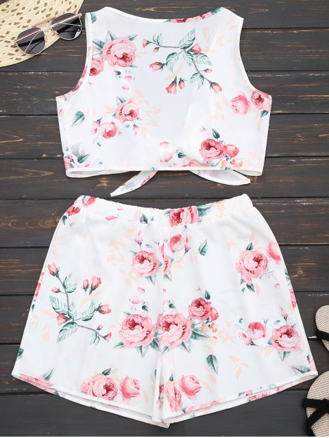 hot Knot Hem Floral Crop Top and Shorts - WHITE M Mobile