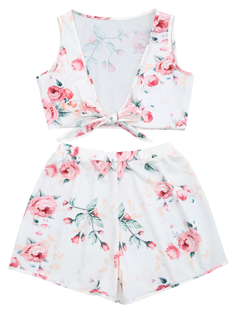 outfit Knot Hem Floral Crop Top and Shorts - WHITE L Mobile