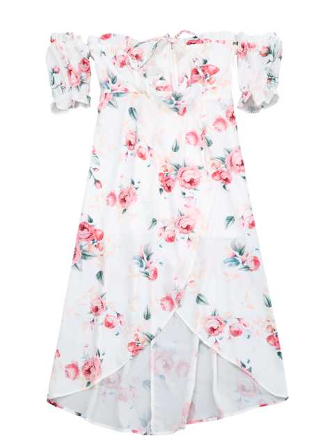 outfits Off Shoulder High Low Floral Dress - WHITE S Mobile