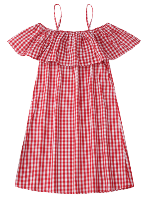 chic Cami Plaid Ruffle Dress - RED L Mobile