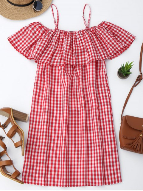 fancy Cami Plaid Ruffle Dress - RED XL Mobile