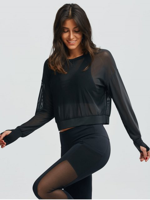 outfit Mesh See-Through Sports Top - BLACK L Mobile
